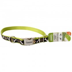 Pet Attire Ribbon Adjustable Nylon Dog Collar with Metal Buckle - Brown Paws & Bones Image