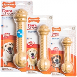 Nylabone Dura Chew Barbell Chew Toy - Peanut Butter Flavor Image
