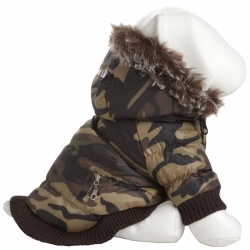 Pet Life Camouflage Parka with Removable Hood Image