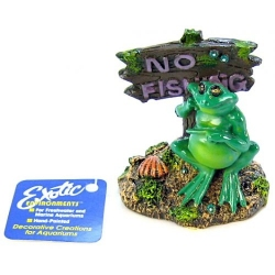 Blue Ribbon Pot Belly Frog No Fishing Sign Aquarium Ornament Image