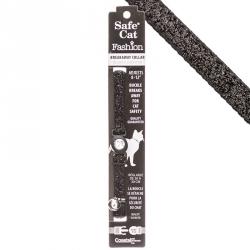 Safe Cat Jeweled Adjustable Breakaway Cat Collar - Black Glitter Image