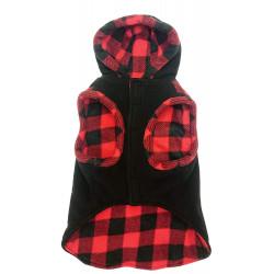 Outdoor Dog Toggle Plaid Trim Dog Coat - Black Image