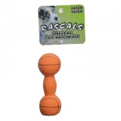 Rascals Latex Basketball Dumbbell Dog Toy Image