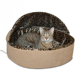 K&H Thermo Kitty Bed Deluxe - Tan & Leopard Image