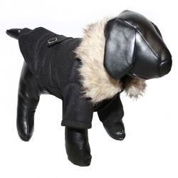 Pet Life Buttoned Wool Dog Coat - Coast Guard Black Image