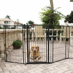 Carlson Outdoor Super Gate with Pet Door - Extra Tall Image
