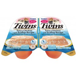Inaba Twin Packs Tuna and Chicken with Scallop Recipe in Scallop Broth Side Dish for Cats Image