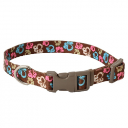 Pet Attire Styles Adjustable Dog Collar - Special Paw Brown Image