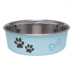 Loving Pets Light Blue Stainless Steel Dish With Rubber Base Image