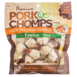 Premium Pork Chomps - Chicken Flavor Wrapped Porkskin Knots Image