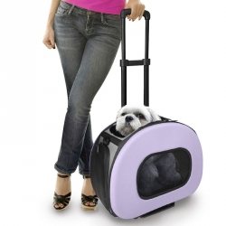 Pet Life Wheeled Tough-Shell Collapsible Pet Carrier - Lavender Image