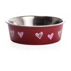 Loving Pets Bella Bowl with Rubber Base - Valentine Red Hearts Image