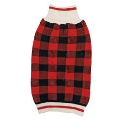 Fashion Pet Plaid Dog Sweater - Red Image