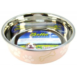 Loving Pets Light Pink Stainless Steel Dish With Rubber Base Image