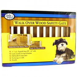 Four Paws Walk Over Wood Safety Gate with Door Image