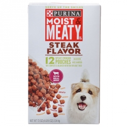 Purina Moist & Meaty Wet Dog Food - Steak Flavor Image