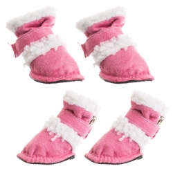 Pet Life Shearling Duggz Dog Boots - Pink Image