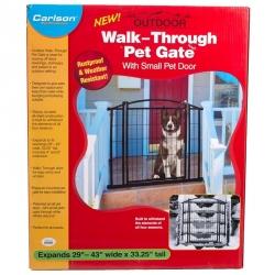 Carlson Weatherproof Outdoor Walk-Thru Gate with Pet Door Image