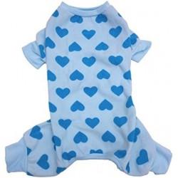 Lookin Good Heart Fleece Dog Pajamas - Blue Image