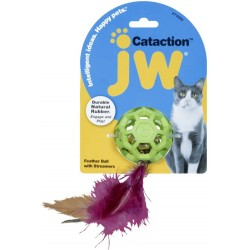 JW Pet Cataction Feather Ball Toy With Bell Interactive Cat Toy  Image