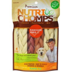 Premium Nutri Chomps Rawhide Free Chicken, Peanut Butter, Milk Dog Treats Image