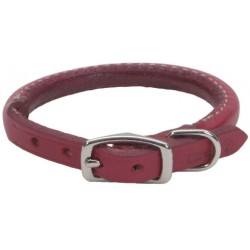 Circle T Oak Tanned Leather Round Dog Collar - Red Image