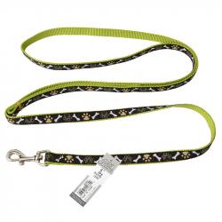 Pet Attire Ribbon Nylon Dog Leash - Brown Paws & Bones Image