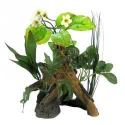 Exotic Environments Chestnut with Plants Aquarium Ornament Image