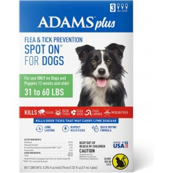 Adams Flea And Tick Prevention Spot On For Dogs 31-60 lbs Large 3 Month Supply  Image