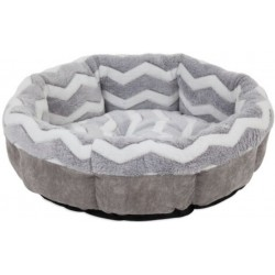 Precision Pet Snoozz ZigZag Round Pet Bed Gray And White  Image
