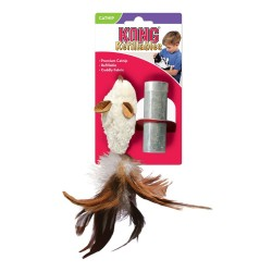 Feather Tailed Mouse Cat Toy with Catnip Refill Image