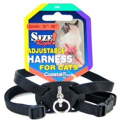 Coastal Pet Size Right Adjustable Harness for Cats - Black Image