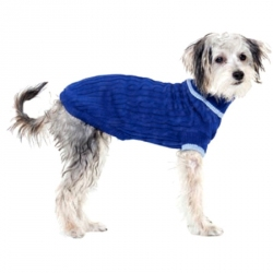 Fashion Pet Classic Cable Knit Dog Sweaters - Blue Image