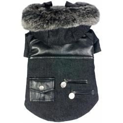 Pet Life Denim Choppered Dog Coat - Black Image