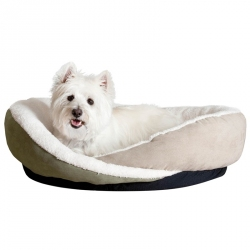 K&H Huggy Nest Pet Booster Bed - Green/Tan Image