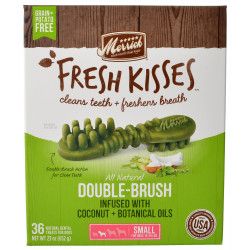 Merrick Fresh Kisses Coconut Oil Double-Brush Dental Treats - Small Image
