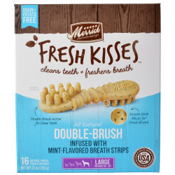 Merrick Fresh Kisses Mint Double-Brush Dental Treats - Large Image
