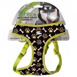 Pet Attire Ribbon Designer Wrap Adjustable Dog Harness - Brown Paw & Bones Image