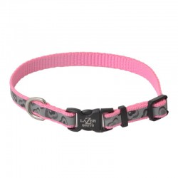 Lazer Brite Reflective Adjustable Dog Collar - Pink Hearts Image