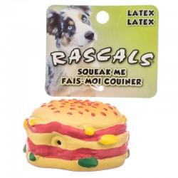 Rascals Latex Hamburger Dog Toy Image
