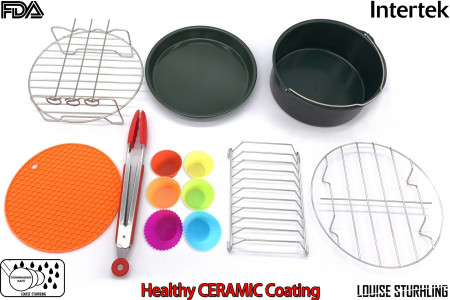LOUISE STURHLING 8-Piece Ceramic Air Fryer Accessory Set. Fits ALL 3.7 L – 5.8 L Fryers. Pizza pan, Cake Barrel, Grill rack with Skewers, Tongs, Bread Rack, Metal Holder, Silicone Mat & Muffin Cups alternate img #1