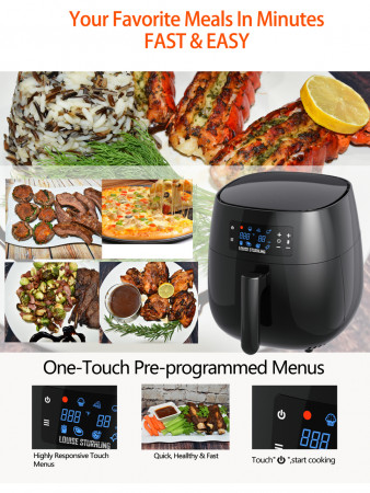 All-Natural Healthy Ceramic Coated 4.0L Air Fryer. BPA-FREE, PTFE & PFOA-FREE, 7-in-1 Pre-programmed One-touch Settings, Exclusive BONUS Items - FREE COOKBOOK, TONGS & PIZZA PAN alternate img #8