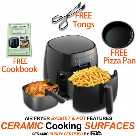 All-Natural Healthy Ceramic Coated 4.0L Air Fryer. BPA-FREE, PTFE & PFOA-FREE, 7-in-1 Pre-programmed One-touch Settings, Exclusive BONUS Items - FREE COOKBOOK, TONGS & PIZZA PAN alternate img #1