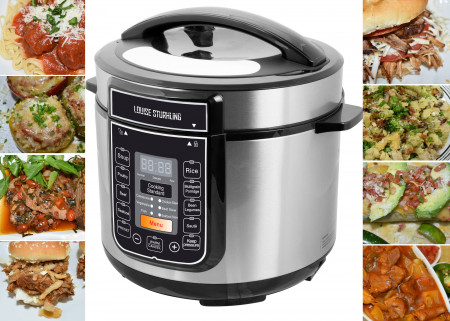 LOUISE STURHLING 10-in-1 Intelligent 6 Qt Pressure Cooker, 14 Programmed Menus, 7 Safety Features, High-Grade Stainless Steel Body, Durable Double Coated Non-Stick Pot, Plus FREE Cookbook alternate img #1