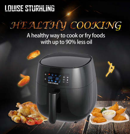 All-Natural Healthy Ceramic Coated 4.0L Air Fryer. BPA-FREE, PTFE & PFOA-FREE, 7-in-1 Pre-programmed One-touch Settings, Exclusive BONUS Items - FREE COOKBOOK, TONGS & PIZZA PAN alternate img #4