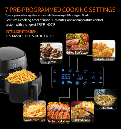 All-Natural Healthy Ceramic Coated 4.0L Air Fryer. BPA-FREE, PTFE & PFOA-FREE, 7-in-1 Pre-programmed One-touch Settings, Exclusive BONUS Items - FREE COOKBOOK, TONGS & PIZZA PAN alternate img #6