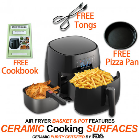 All-Natural Healthy Ceramic Coated 4.0L Air Fryer. BPA-FREE, PTFE & PFOA-FREE, 7-in-1 Pre-programmed One-touch Settings, Exclusive BONUS Items - FREE COOKBOOK, TONGS & PIZZA PAN alternate img #5