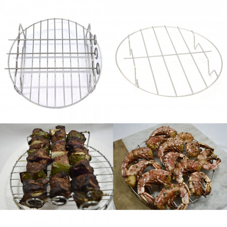 LOUISE STURHLING 8-Piece Ceramic Air Fryer Accessory Set. Fits ALL 3.7 L – 5.8 L Fryers. Pizza pan, Cake Barrel, Grill rack with Skewers, Tongs, Bread Rack, Metal Holder, Silicone Mat & Muffin Cups alternate img #4