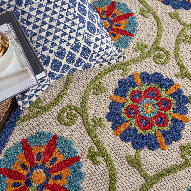 Nourison Aloha Alh19 Beige Green Blue Floral Indoor