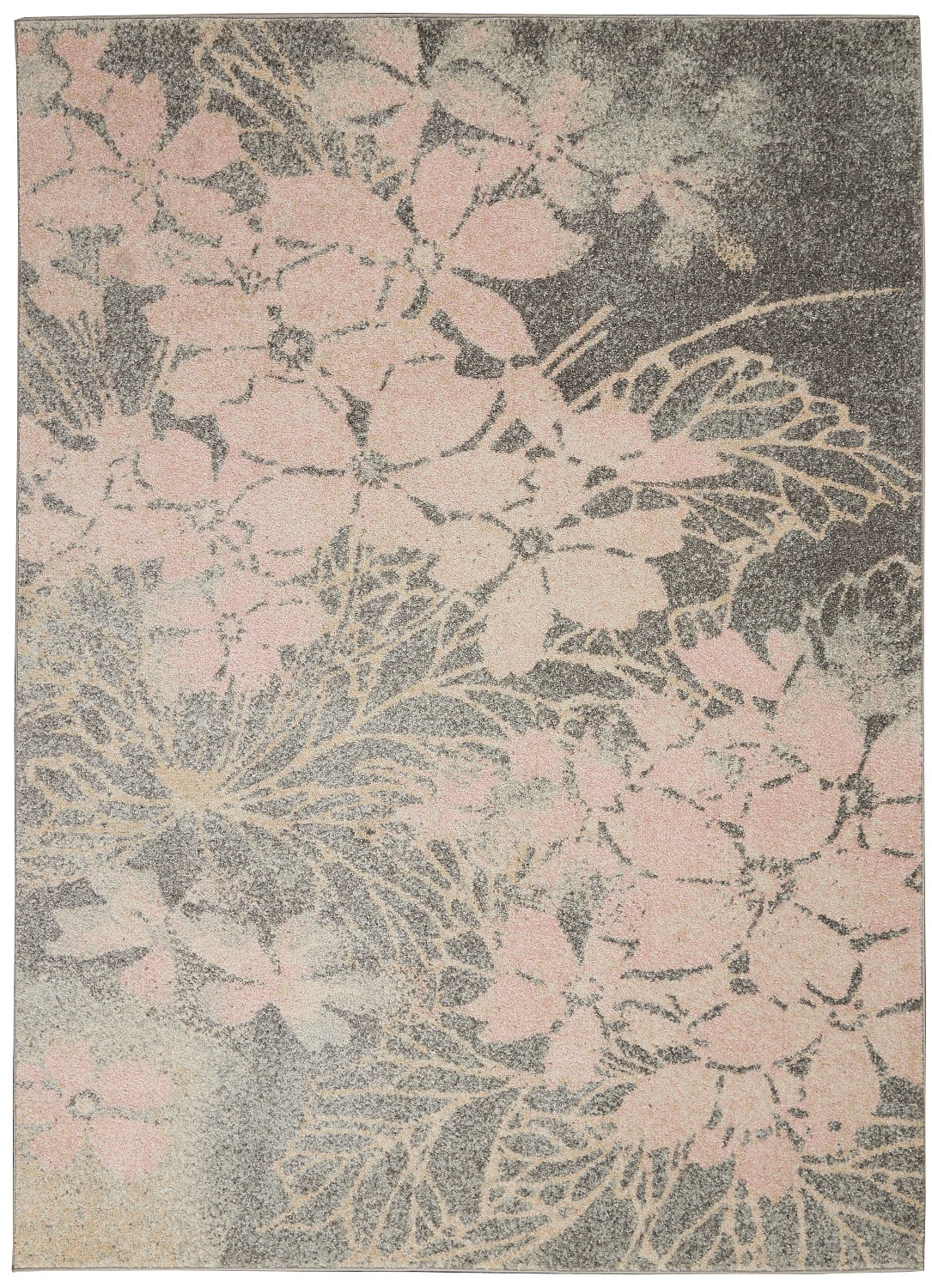 Tranquil TRA08 Grey/Pink Area Rug Contemporary Ombre Floral